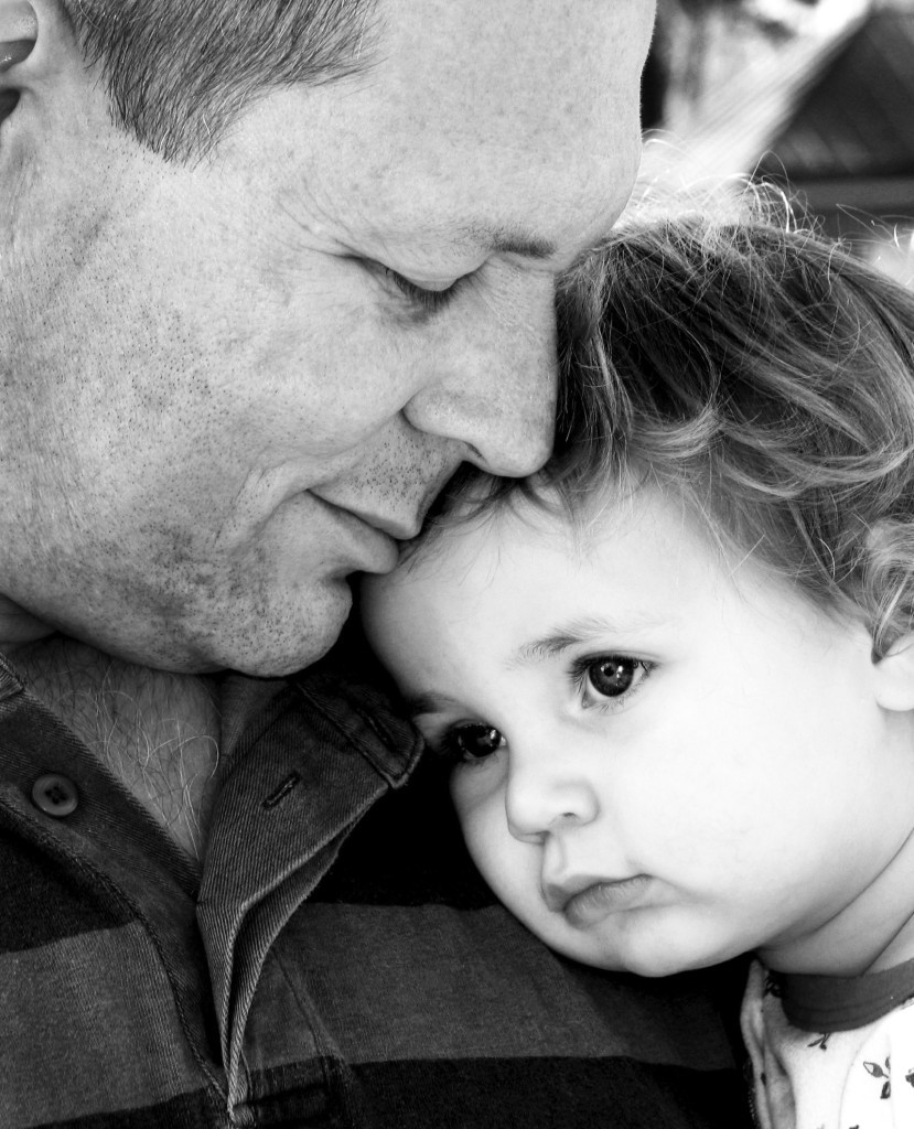 father and daughter bw lightened