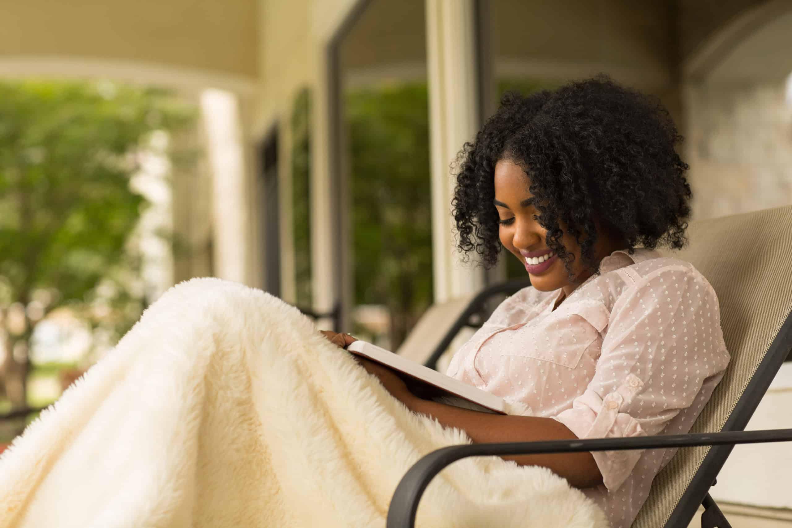 relaxing, African American woman